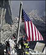 US flag at Ground Zero