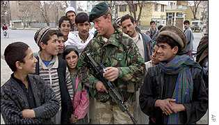 A British peacekeeper outside the interior ministry in Kabul