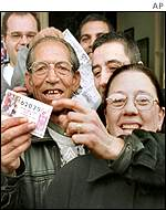 A lottery syndicate with their winning ticket