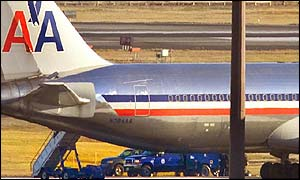 American Airlines flight 63 at Boston's Logan Airport after the mid-air incident