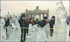 Vyugovey-2002 ice and snow festival: ice animal sculptures