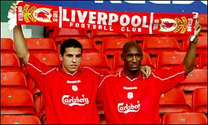 Milan Baros and Nicolas Anelka are paraded at Anfield