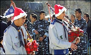 Scouts playing the bagpipes in Bethlehem