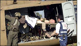 An Israeli soldier is loaded onto an air ambulance