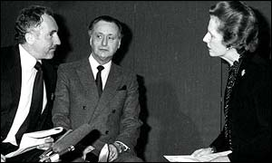 Nigel Hawthorne, and Paul Eddington perform a sketch with Margaret Thatcher
