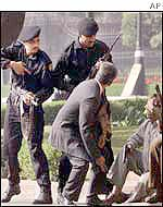 Indian police outside parliament as it came under attack on 13 December