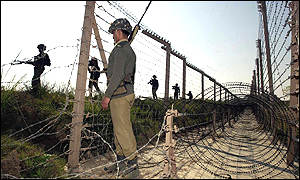 Troops at the border in Kashmir