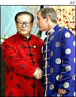 Chinese President Jiang Zemin and US President George W Bush