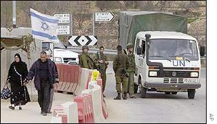 Palestinians at an Israeli check-point near Bethlehem