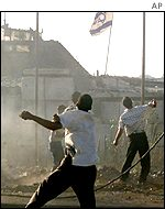 Palestinian stone-throwers at Netzarim junction