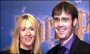 Joanne Rowling and Neil Murray - pictured at the launch of the Harry Potter film