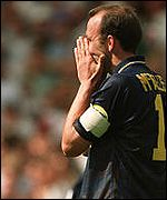 Gary McAllister after missing that penalty for Scotland against England in Euro 96