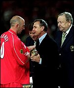 Gary McAllister picks up the Man of the Match award in the Uefa Cup final