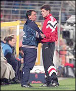 Taylor clashes with an official during England's 1993 World Cup qualifying defeat in Holland