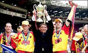 Graham Taylor celebrates winning the Division One play-off with Watford in 1999
