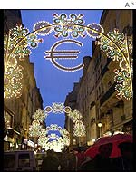 Paris street with festive euro decorations
