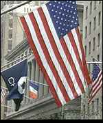 US flags outside the New York Stock Exchange