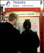 Couple at ticket machine