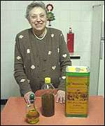Mrs Vassallo and her olive oil reserves