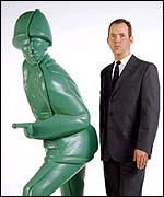 Douglas Coupland with statue