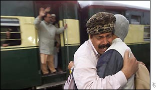 Tearful relatives bid goodbyes as the last train leaves for Delhi