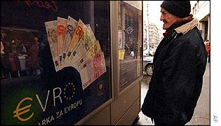 Currency exchange featuring euro display in Belgrade, Yugoslavia