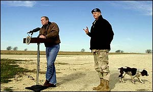 US President George Bush and General Tommy Franks, commander of US forces in Afghanistan