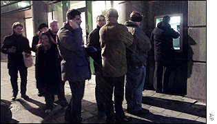 Queue outside Brussels cash machine