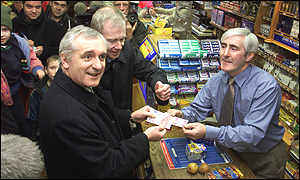 Bertie Ahern at a O'Neill's newsagents