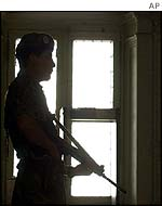 Soldier on guard inside Government House