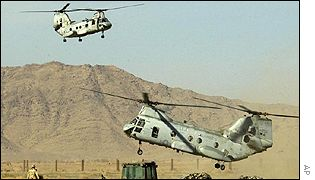 Helicopters land at the marines' base at Kandahar airport