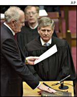 Peter Hollingworth takes the oath of office as the governor-general of Australia, June 2001