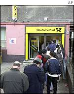 Queue outside German post office