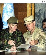 British General John McColl and U.S. Brigadier General David Kratzner