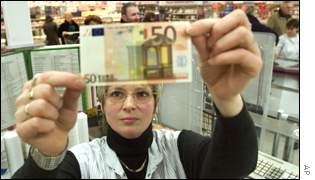 Cashier in German supermarket