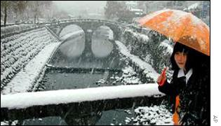 Japanese woman under umbrella in snow   AP