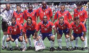 Costa Rica pose for a team photo during their 2002 World Cup qualifying campaign