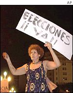 Protester demands new elections in Buenos Aires