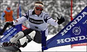Defending Olympic giant slalom champion Karine Ruby of France on the gold trail