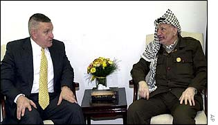 Anthony Zinni (left) and Yasser Arafat