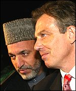 Hamed Karzai and Tony Blair