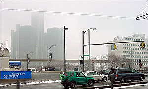 Detroit street scene, GM headquarters in background