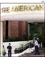 Ghurka guard outside the American Club