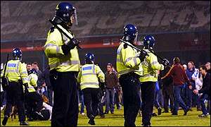 South Wales police estimated that more than 1,000 fans stormed the pitch