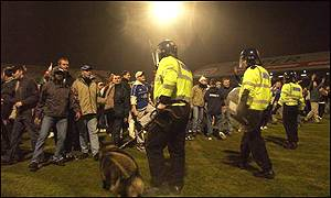 Cardiff fans congregated in front of the Leeds supporters in the Grange end at the end of the match