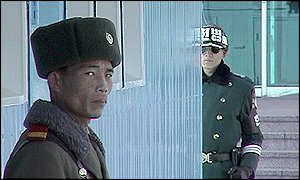 Soldiers from North and South korea face off against each other