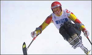 Stacey Komut of Canada collecetd three silvers in the sitski category at nagano