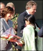 Tony and Cherie Blair on arrival in Pakistan