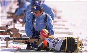 The biathlon combined cross-country and rifle shooting skills