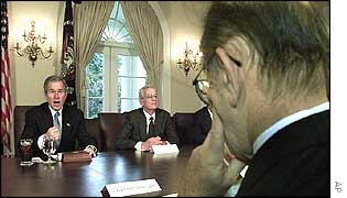 US President George Bush with Federal Reserve Chairman Alan Greenspan (right) and Secretary of Treasury Paul O'Neill (centre).